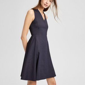 Theory Kalsington BLACK Structured V-Neck Dress 2